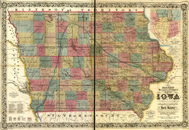 """Parker's sectional & geological map of Iowa exhibiting her iron, lead, copper, coal and other geological resources and all rail roads completed in progress, and projected compiled from the U.S. surveys and personal reconnoisance. By Nathan H. Parker author of """"Iowa As It Is"""" Clinton Io. 1856."""