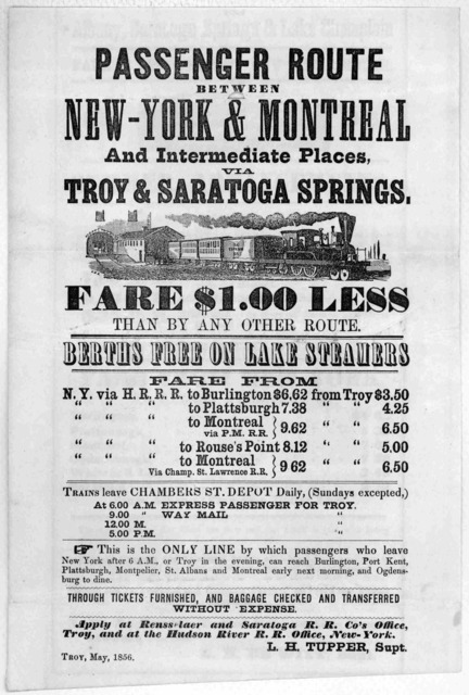 Passenger route between New-York & Montreal and intermediate places, via Troy &Saratoga Springs ... Troy. May 1856.