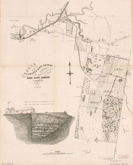 Plan of the Fairhaven Slate Quarry estate, the property of the Allen Slate Company, Vermont /