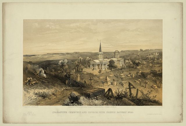 Quarantine cemetery and church, with French battery no. 50 / W. Simpson del. ; J. Needham, lith. ; Day & Son, Lithrs. to the Queen.