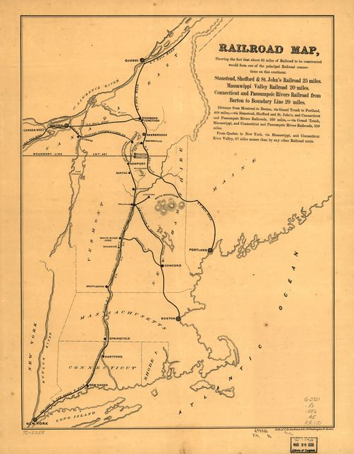 Railroad map, showing the fact that about 65 miles of railroad to be constructed would form one of the principal railroad connections on this continent.