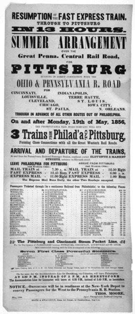Resumption of the fast express train Through to Pittsburg in 13 hours. Summer arrangement over the great Penna. Central rail road, for Pittsburg ... Thos. Moore. Agent. Pennsylvania railroad company. May 1856. New York Booth & M'Naughton, Steam