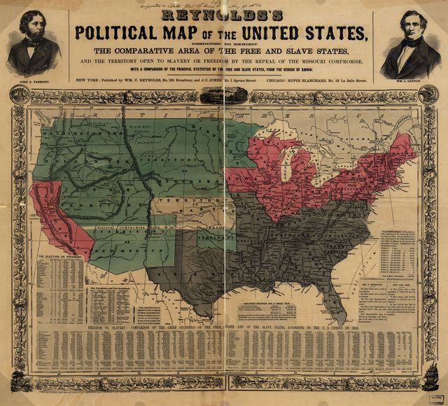 Reynolds's political map of the United States, designed to exhibit the comparative area of the free and slave states and the territory open to slavery or freedom by the repeal of the Missouri Compromise.