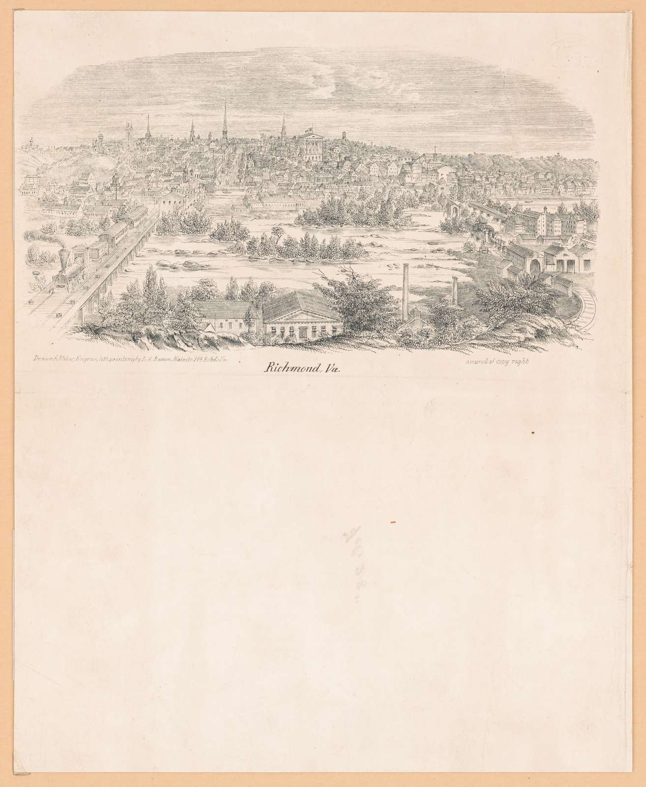 Richmond, Va. drawn f. natur. engrav. lith. printing by L.A. Ramm Main st. 219 Richd. Va