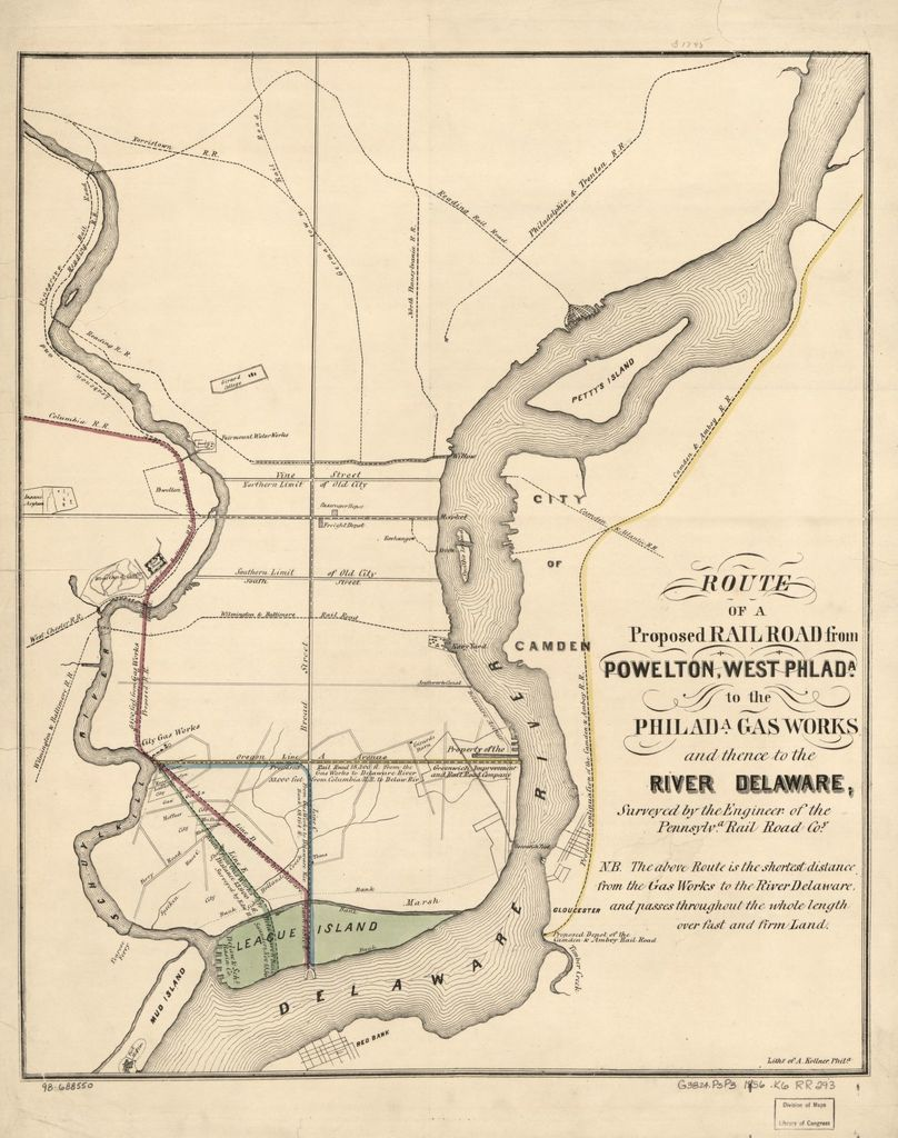 Route of a proposed railroad from Powelton, West Philada. to the Philada; gas works and thence to the river Delaware; surveyed by the engineer of the Pennsylva Rail Road Co.
