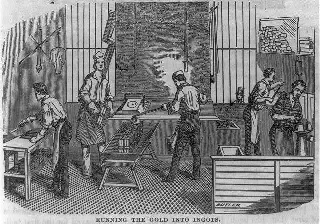 "San Francisco Mint operations: ""Running the gold into ingots"""