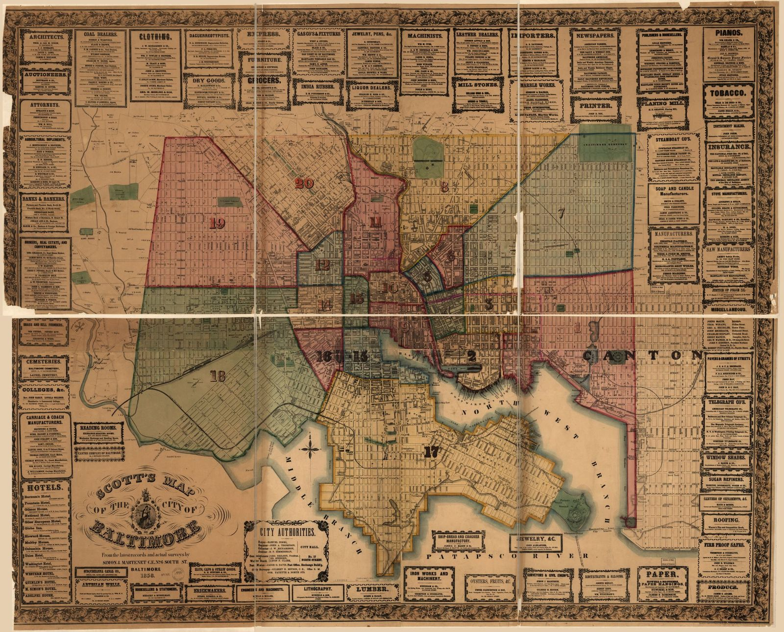 Scott's map of the city of Baltimore. From latest records and actual surveys by