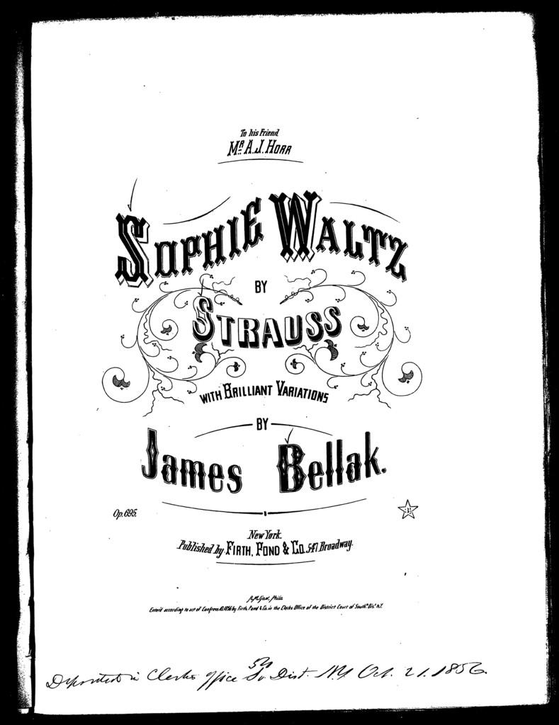 Sophia waltz, variations, op. 695