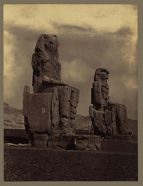 [Statues of Memnon, upright view. - Thebes]