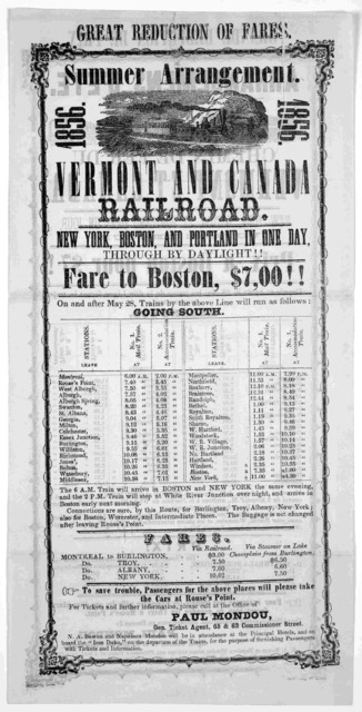 Summer arrangement. Vermont and Canada railroad. New York, Boston and Portland in one day ... [Boston? 1856].