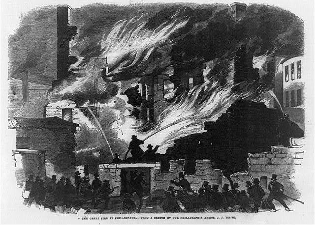 The great fire at Philadelphia: Front page, illustration only