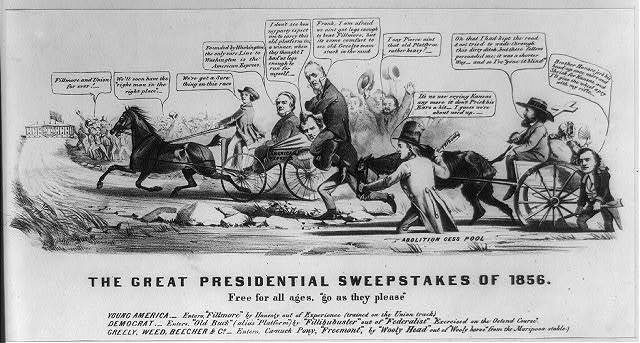 """The great Presidential sweepstakes of 1856. Free for all ages, """"go as they please"""""""