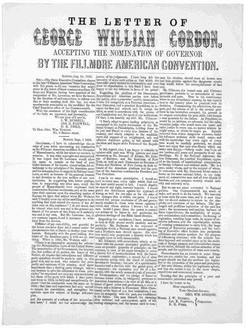 The letter of George William Gordon, accepting the nomination of governor by the Fillmore American convention. Boston, Aug. 30, 1856.