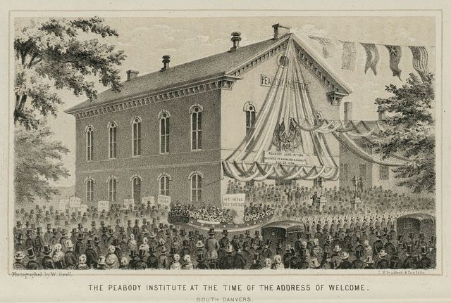The Peabody Institute at the time of the address of welcome. South Danvers / photographed by W. Snell; L.H. Bradford & Co's. Litho.