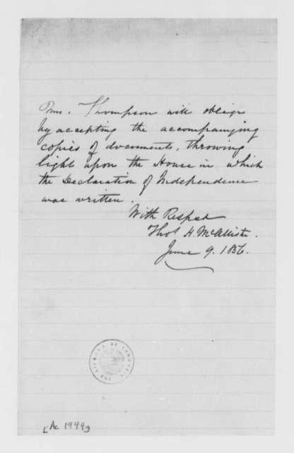 Thomas H. McAllister to Mrs. Thompson, June 9, 1856, Transmittal