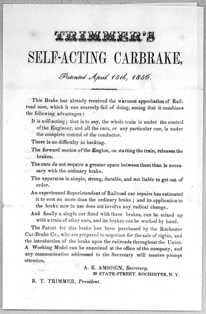 Trimmer's self-acting carbrake. patented April 15th, 1856. [Circular].