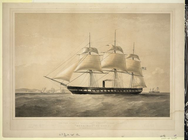 "United States ""Auxiliary Screw"" steam frigate ""Merrimac"" 60 guns. Off the entrance to New York harbour / T.G. Dutton, del et lith. ; Day & Son, Lithrs. to the Queen."