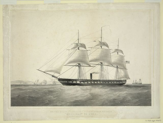 "United States ""Auxiliary Screw"" steam frigate ""Merrimac"" 60 guns. Off the entrance to New York harbour / T.G. Dutton, del et lith. ; Day & Son, Lithrs. to [the Queen]."