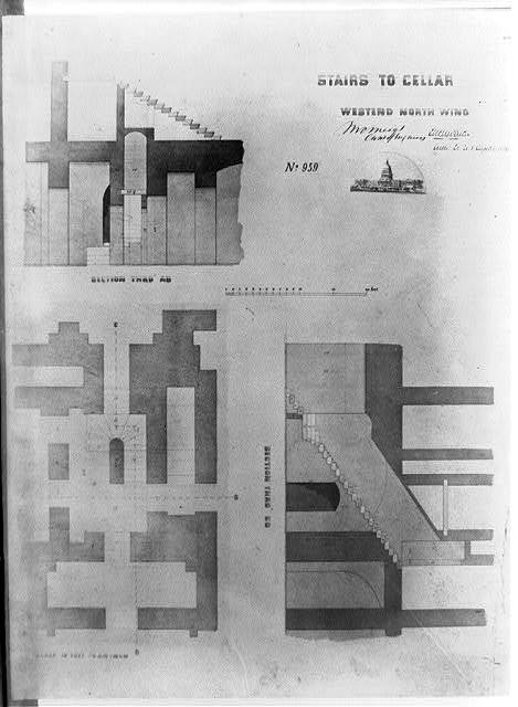 [United States Capitol (Washington, D.C.). North wing. West end. Stairs to cellar. Sections] / M.C. Meigs, Capt. of engineers; Tho. U. Walter, Archt. ex. U.S.C.