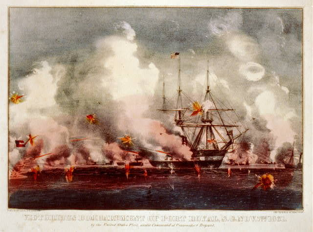 Victorious bombardment of Port Royal, S.C. Nov. 7th. 1861: by the United States fleet, under command of Commodore Dupont