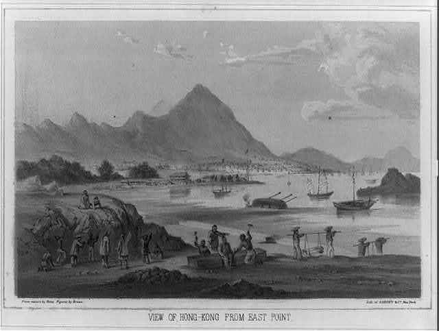 View of Hong Kong from East Point / from nature by Heine, figures by Brown ; lith. of Sarony & Co., New York.