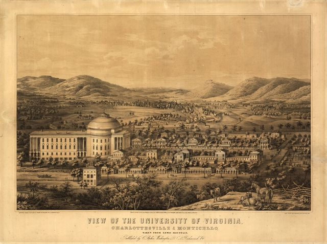 View of the University of Virginia, Charlottesville & Monticello, taken from Lewis Mountain /