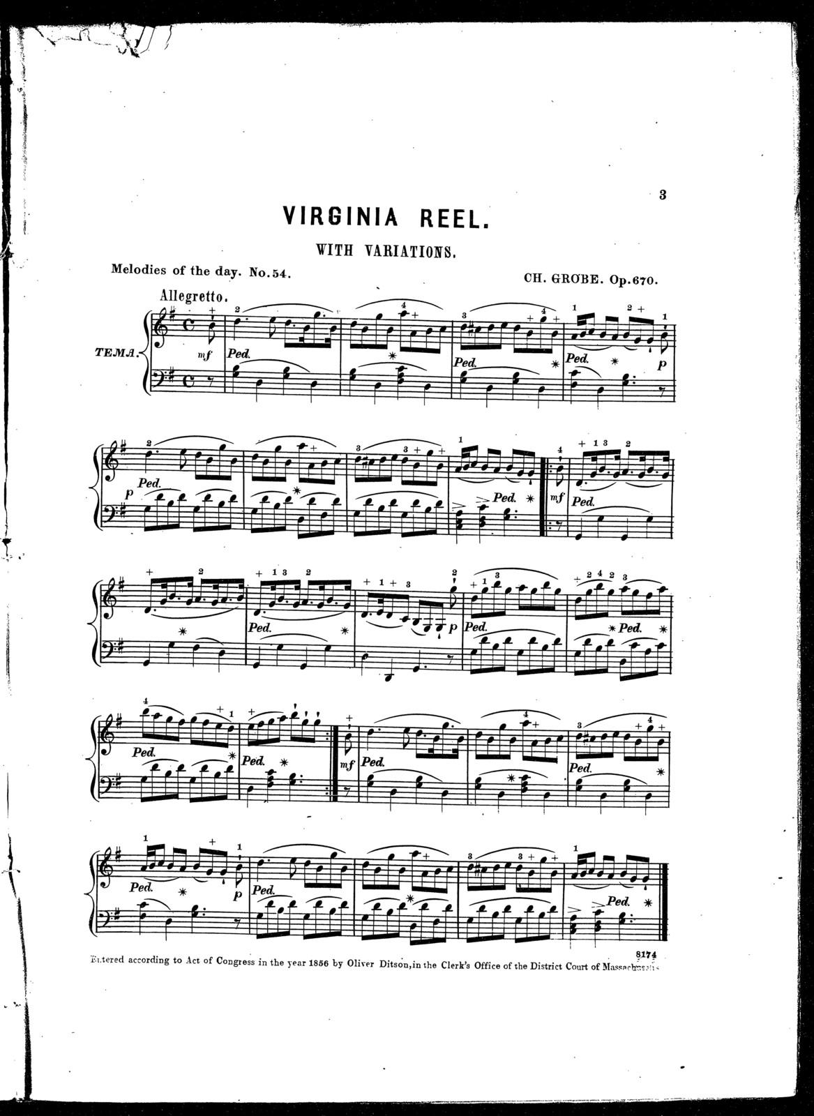 Virginia reel, with variations, op. 670