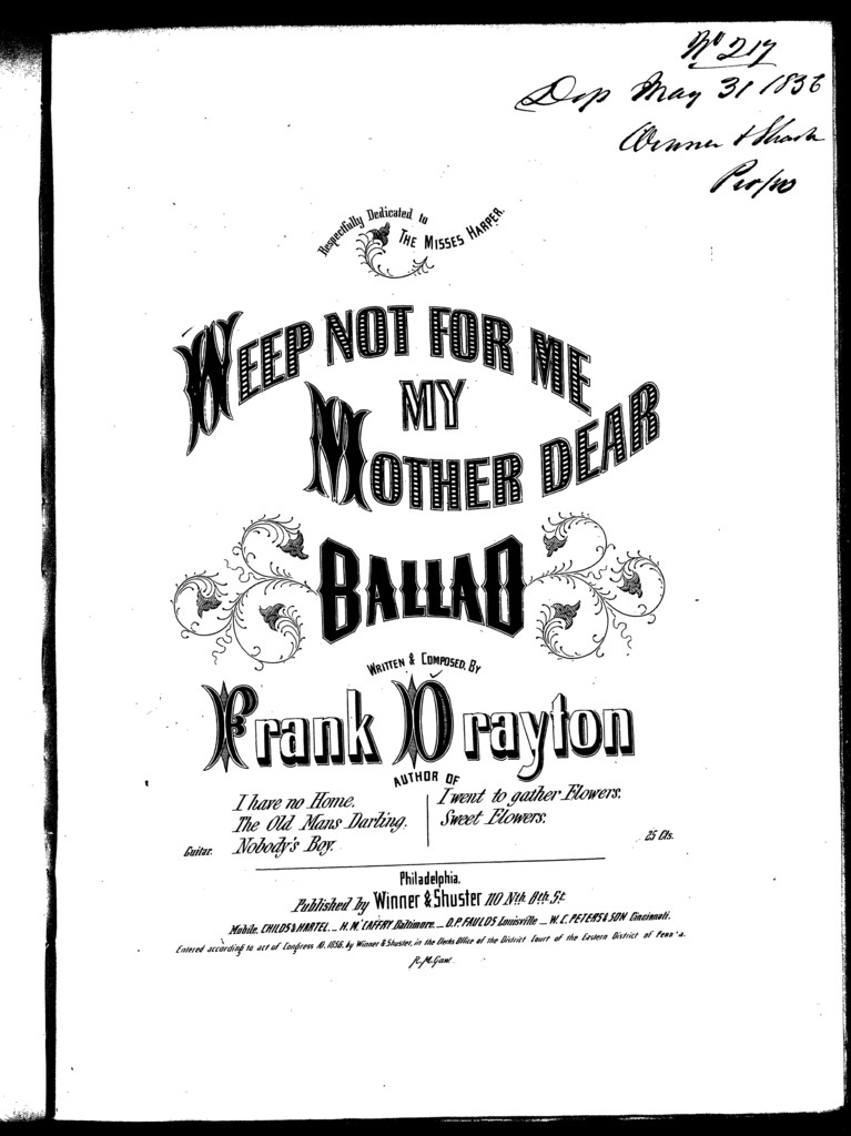 Weep not for me my mother dear, ballad