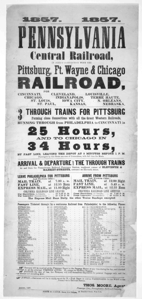 1857 Pennsylvania central railroad, in direct connection with the Pittsburgh, Ft. Wayne & Chicago railroad for Cincinnati, Chicago, St. Louis, St. Paul. [etc.] ... New York. Booth & Norton, Steam Job printers. August 1857.