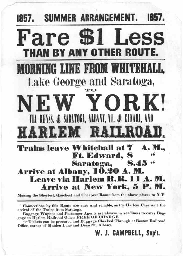 1857 Summer arrangement. 1857. Fare $ 1 less than by any other route. Morning line from Whitehall, Lake George and Saratoga, to New York! via Renss. & Saratoga, Albany, Vt. & Canada, and Harlem railroad ... W. J. Campbell, Supt.