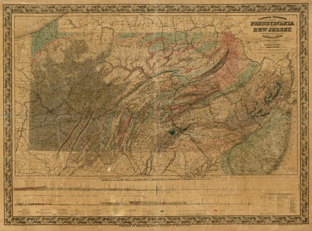 A geological and topographical map of Pennsylvania and New Jersey : compiled from the official reports of the geological surveys and from various other sources public and private /