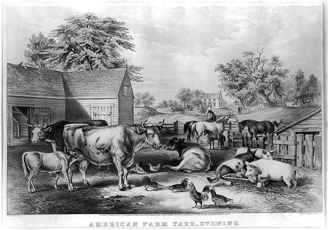 American farm yard--evening / F.E. [sic] Palmer, del. ; lith. of Currier & Ives, N.Y.
