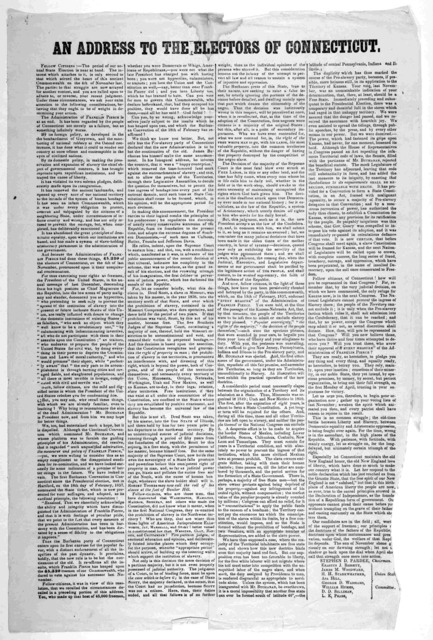 An address to the electors of Connecticut. [March 1857].