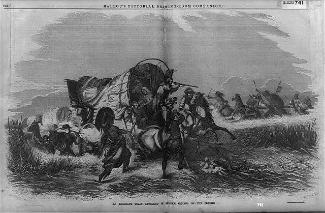 An emigrant train attacked by hostile Indians on the prairie / Champney del. ; Nichols sc.