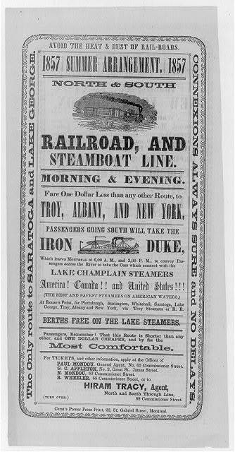 Avoid the heat & dust of rail-roads. Summer arrangement... North & South railroad, and steamboat line ... to Troy, Albany, and New York...