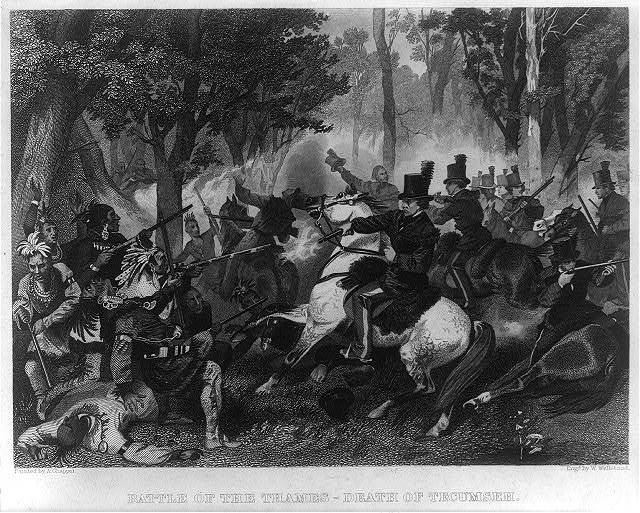 Battle of the Thames - death of Tecumseh / painted by A. Chappel ; engd. by W. Wellstood.