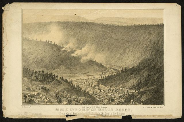 Bird's eye view of Mauch Chunk, from Mount Pisgah tow[ard Le]high Gap in the distance / Js. Queen delt. ; ambrotype of H. P. Osborn, Bethlehem.