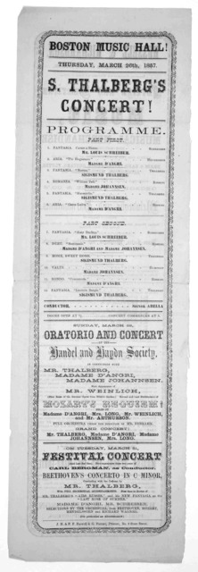 Boston music hall! Thursday, March 26th, 1857. S. Thalberg's concert. Programme ... J. H. & F. F. Farwell & G. Forrest, printers.