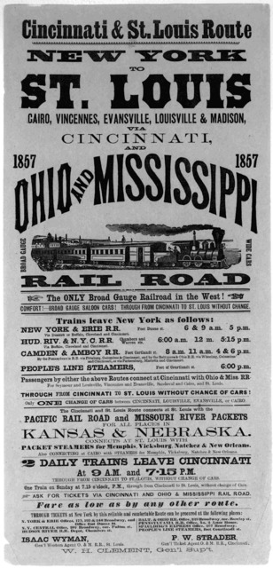 Cincinnati & St. Louis route. New York to St. Louis, Cairo, Vincennes, Evansville, Louisville & Madison, via Cincinnati and Ohio and Mississippi railroad ... St. Louis 1857.