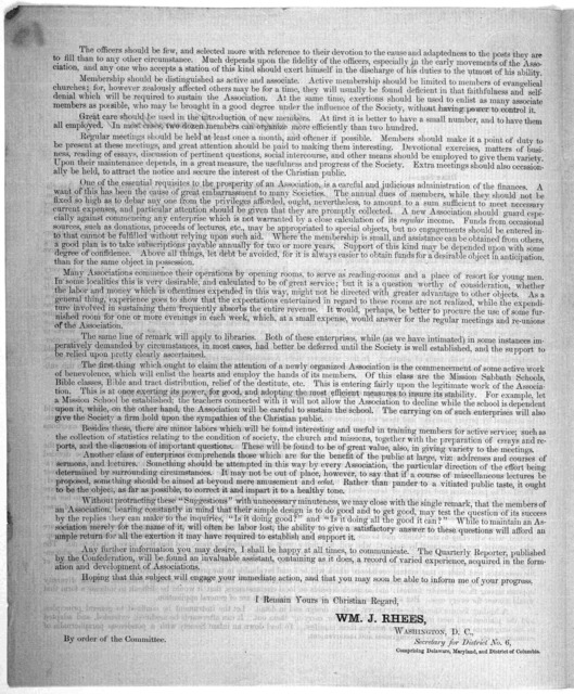 Circular No. 4. Central committee, 1857. Dear Sir:- As representative of the Central Committee of the Young men's Christian associations in the United States and British provinces, for this district, it is my duty to endeavor to enlarge the infl