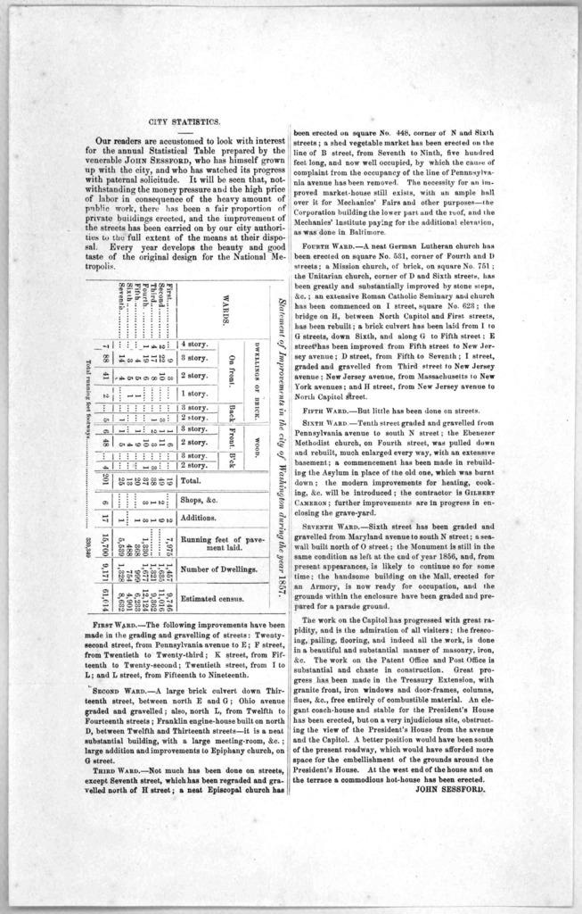 City statistics ... John Sessford. [Washington, D. C. 1857].