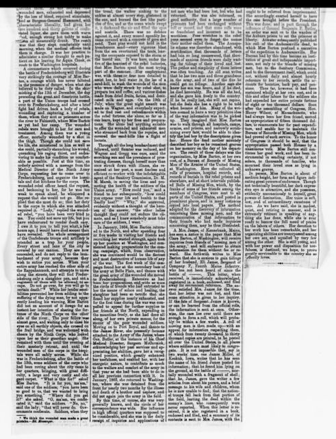 Clara Barton Papers: Miscellany, 1856-1957; Newspaper clippings; 1857-1895