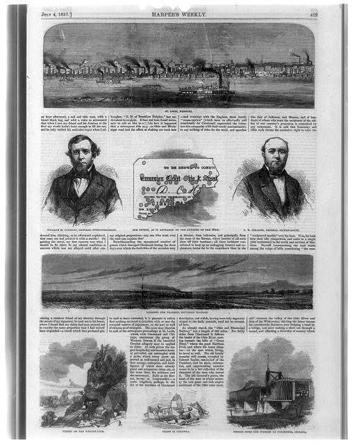 Composite of eight illustrations showing skyline view of St. Louis, Missouri, portraits of William H. Clement and P.W. Strader, train crossing the prairies, southern Illinois, tunnel on the Whitewater, and bridge over the Wabash at Vincennes, Indiana