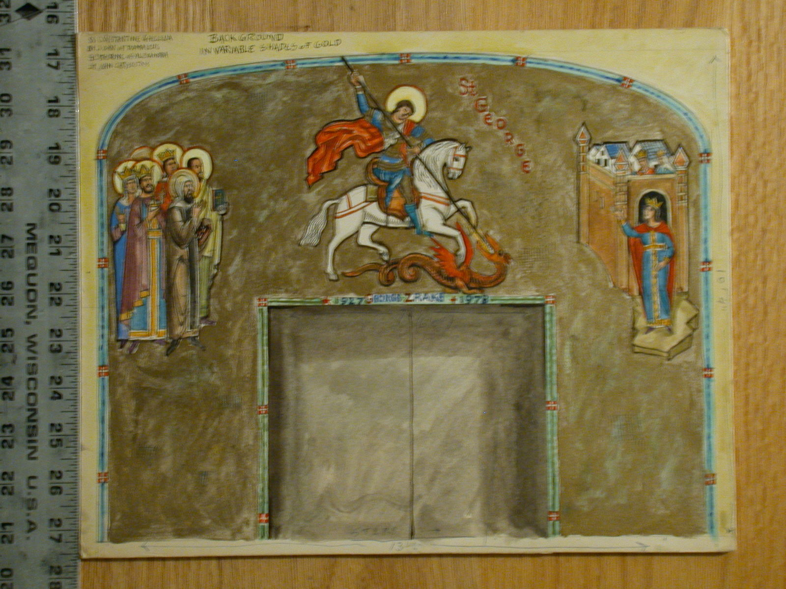 "[Design drawing for a mural showing St. George in a Byzantine-style depiction of saints with royalty cheering him on as he slays the dragon for a memorial window with door surround with ""1927 George Zrake 1978"" over double doors, for St. Mary's Orthodox Church in Bay Ridge, Brooklyn, New York]"