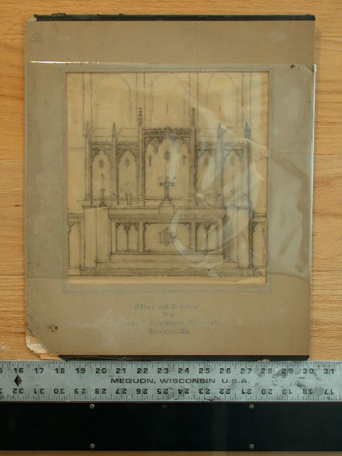 [Design drawing for architectural elements: altar and reredos for Emmanuel Episcopal Church in Franklin, Pennsylvania]