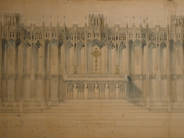 [Design drawing for architectural elements: Altar and Reredos with tracery Gothic design and finials, crucifix, and vases for Church of the Ascension in Pittsburgh, Pennsylvania]