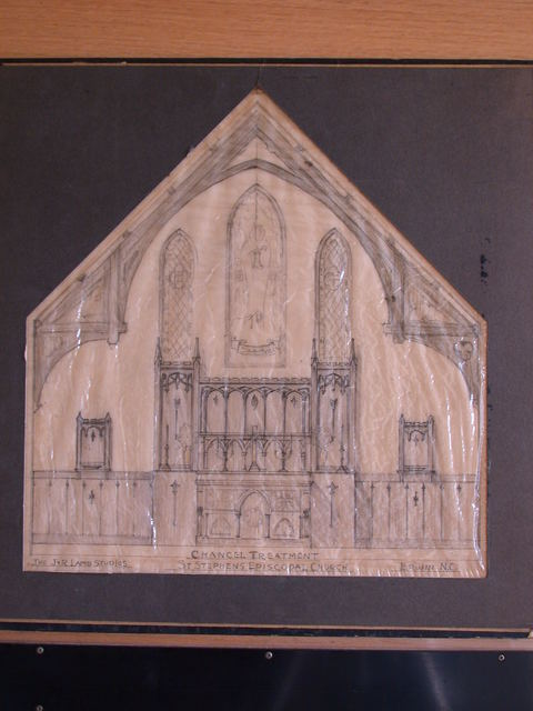 [Design drawing for architectural elements for Chancel treatment (with stained glass windows?) for St. Stephen's Episcopal Church in Earwin, North Carolina]