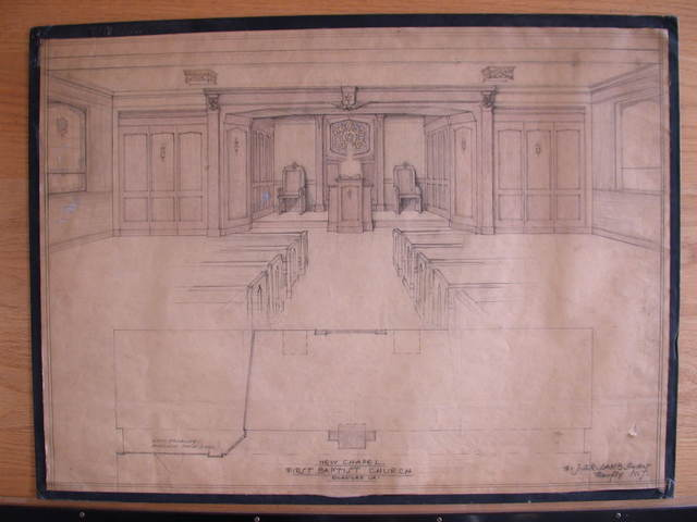 [Design drawing for architectural elements for New Chapel with chairs, and stained glass]