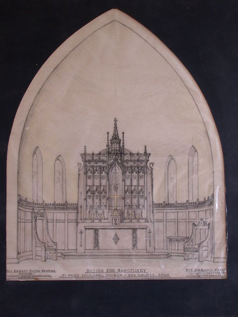 [Design drawing for architectural elements for Sanctuary for St. Paul's Episcopal Church in Des Moines, Iowa]