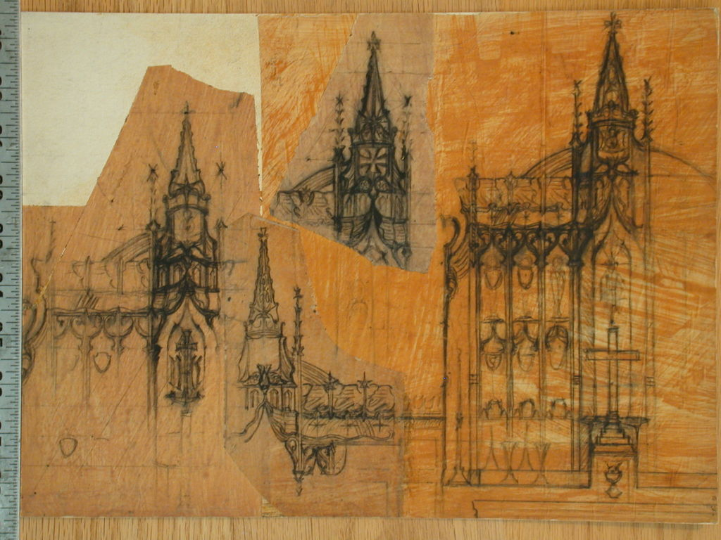 [Design drawing for architectural elements: Gothic church details]